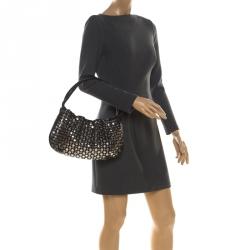 Sonia Rykiel Black Leather Domino Studded Shoulder Bag