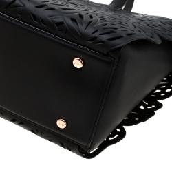 Sophia Webster Black Laser Cut Leather Liara Tote