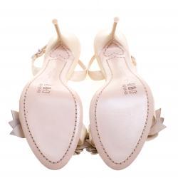 Sophia Webster Beige Patent Leather Lilico Floral Embellished Slingback Sandals Size 38