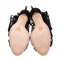 Sophia Webster Black Suede Delphine Peep Toe Cage Sandals Size 39.5