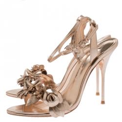 Sophia Webster Metallic Rose Gold Leather Lilico Floral Embellished Ankle Wrap Sandals Size 39