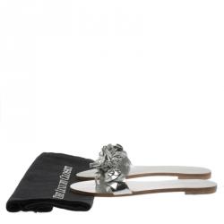 Sophia Webster Metallic Silver Leather Lilico Floral Embellished Flat Slides Size 36.5