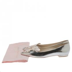 Sophia Webster Metallic Silver Leather Bibi Butterfly Pointed Toe Ballet Flats Size 38.5
