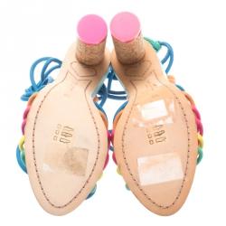 Sophia Webster Multicolor Leather Cord Copacabana Cork Heel Ankle Wrap Sandals Size 36