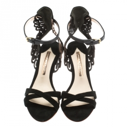 Sophia Webster Black Suede and Laser Cut Rose Gold Leather Micah Open Toe Sandals Size 36.5