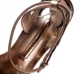 Sophia Webster Metallic Rose Gold Leather Lilico Floral Embellished Ankle Wrap Sandals Size 38