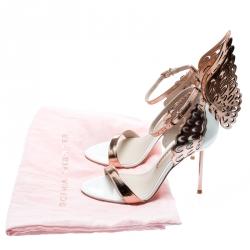 Sophia Webster White And Laser Cut Rose Gold Leather Evangeline Open Toe Sandals Size 35.5