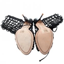 Sophia Webster Black Leather Delphine Peep Toe Cage Sandals Size 39.5