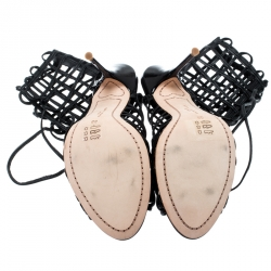 Sophia Webster Black Leather Delphine Peep Toe Cage Sandals Size 38
