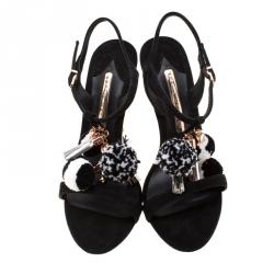 Sophia Webster Black Suede Layla Pom Pom Embellished T-Strap Sandals Size 37.5
