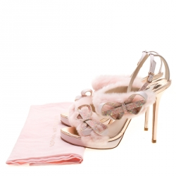 Sophia Webster Pink Faux Fur And Leather Bella Bow Embellished Ankle Strap Sandals Size 39