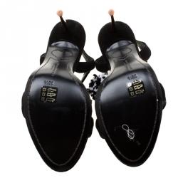 Sophia Webster Black Suede Layla Pom Pom Embellished T-Strap Sandals Size 38.5