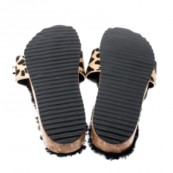 Sophia Webster Beige Leopard Print Calf Hair Crystal Embellished Slides Size 40.5