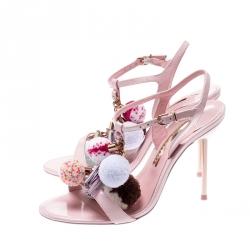 Sophia Webster Pale Pink Layla Pom Pom Embellished T-Strap Sandals Size 38