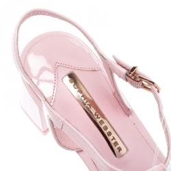 Sophia Webster Pale Pink Patent Leather Jada T Strap Pom Pom Sandals Size 38