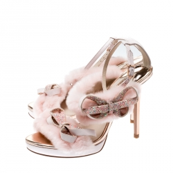 Sophia Webster Pink Faux Fur And Leather Bella Bow Embellished Ankle Strap Sandals Size 38.5