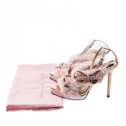 Sophia Webster Pink Faux Fur And Leather Bella Bow Embellished Ankle Strap Sandals Size 37.5