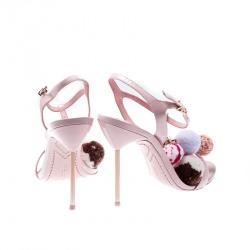 Sophia Webster Pink Leather Layla Pom Pom Embellished T-Strap Sandals Size 39
