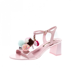 Sophia Webster Light Pink Patent Leather Jada T Strap Pom Pom Sandals Size 39