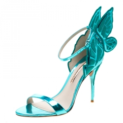 Sophia Webster Metallic Two Tone Leather Chiara Butterfly Wing Open Toe Sandals Size 41