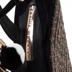 Sophia Webster Black Suede Pom Pom Lucita Espadrille Wedge Size 37.5