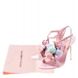 Sophia Webster Pink Leather Layla Pom Pom Embellished T-Strap Sandals Size 36.5