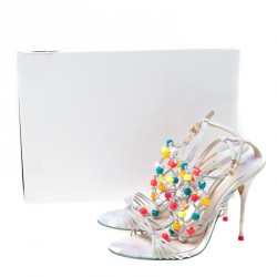 Sophia Webster Multicolor Strappy Leather Arielle Beaded Caged Sandals Size 39.5
