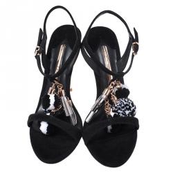 Sophia Webster Black Suede Layla Pompom Sandals Size 40.5