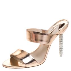 Sophia Webster Metallic Bronze Leather Rosalind Open Toe Sandals Size 38