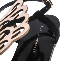 Sophia Webster Black Suede And Rose Gold Leather Seraphina Angel Wing Flats Size 40