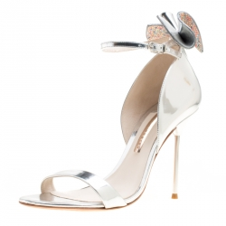 Sophia Webster Metallic Silver Leather Maya Crystal Embellished Bow Ankle Strap Sandals Size 40.5