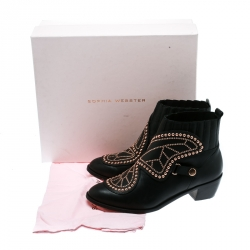Sophia Webster Black Leather Karina Butterfly Studded Ankle Boots Size 37.5