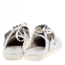 Sophia Webster White Leather Lilico Jessie Crystal Sneakers Size 40.5