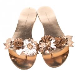 Sophia Webster Metallic Rose Gold Leather Lilico Floral Embellished Flat Slides Size 38