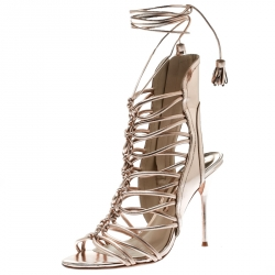 8b839a4c4 Buy Gianvito Rossi Metallic Gold Leather Roxy Lace Up Caged Sandals ...
