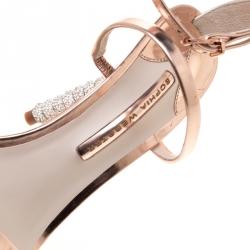 Sophia Webster Rose Gold Leather Rosalind Crystal Heel Ankle Strap Sandals Size 39