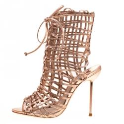 3cdb392d3 Sophia Webster Metallic Rose Gold Leather Delphine Peep Toe Cage Sandals  Size 35.5