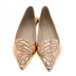 Sophia Webster Metallic Rose Gold Leather Bibi Butterfly Pointed Toe Ballet Flats Size 40
