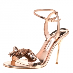 Sophia Webster Metallic Rose Gold Leather Lilico Floral Embellished Ankle Wrap Sandals Size 39.5