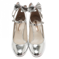 Sophia Webster Silver Leather Lilia Mary Jane Pumps Size 39