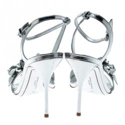 Sophia Webster Metallic Silver Leather Lilico Floral Embellished Ankle Wrap Sandals Size 41
