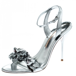 5b110e2b361 Sophia Webster Metallic Silver Leather Lilico Floral Embellished Ankle Wrap  Sandals Size 41
