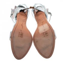 Sophia Webster Metallic Silver Leather Maya Crystal Embellished Bow Ankle Strap Sandals Size 39