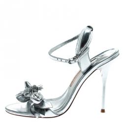 Sophia Webster Metallic Silver Leather Lilico Floral Embellished Ankle Wrap Sandals Size 37.5