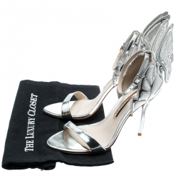 Sophia Webster Metallic Silver Leather Chiara Butterfly Ankle Strap Sandals Size 39.5