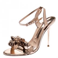 Sophia Webster Metallic Rose Gold Leather Lilico Floral Embellished Ankle Wrap Sandals Size 35.5