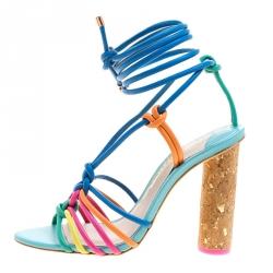 Sophia Webster Multicolor Leather Cord Copacabana Cork Heel Ankle Wrap Sandals Size 37.5