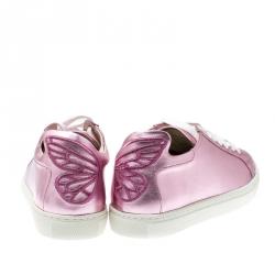 Sophia Webster Pink Metallic Leather Bibi Butterfly Low Top Sneakers Size 38.5