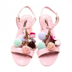 Sophia Webster Pink Patent Leather Juno Pom Pom Embellished T-Strap Sandals Size 38.5