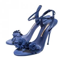 Sophia Webster Blue Leather Lilico Ankle Strap Sandals Size 39.5